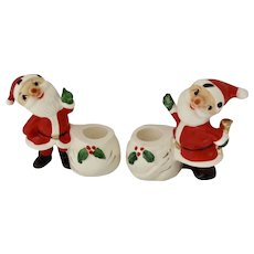 Vintage Holt Howard Santa Claus Candle Stick Holders Christmas Decorations Ceramic Figurines 1958