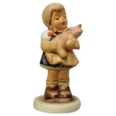 Vintage M. J. Hummel Club Goebel #2052 1998 Mein Glucksschweinchen My Lucky Pig Girl In Pigtails Figurine TMK-7 Germany
