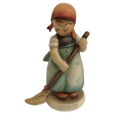 M. J. Hummel Goebel #171 Little Sweeper Girl Sweeping with Broom West Germany Vintage Figurine TMK-3 1963