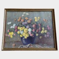 Carle J. Blenner Floral Baby Mums Lithograph Framed Print Circa 1920's Chrysanthemums Still Life