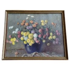 Carle J. Blenner Floral Baby Mums Lithograph Framed Print Circa 1920's Chrysanthemums Still Life