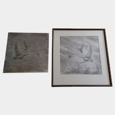 Fritz Reynolds Canadian Geese Flying Drypoint Etching with Original Metal Etching Plate 1966