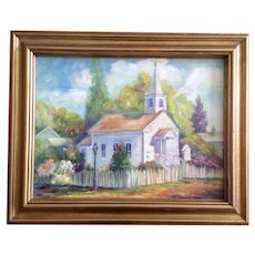 Castello, The Old Church and Steeple with White Picket Fence Oil Painting Signed by Artist