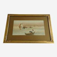 Richard Veenfliet (1843-1922) Venetian Gondola Venice Italy Chromolithograph