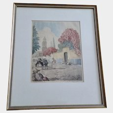Bougainvillea Old Mexico Hand Tinted Stone Etching Lithograph Signed Aquatint
