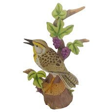 Western Meadowlark Bird Figurine Danbury Mint 'The 12 Songbirds' Collection Porcelain Bisque Retired