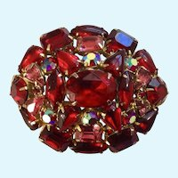 Gorgeous Pink and Red Crystal Rhinestone Encrusted Brooch Pin
