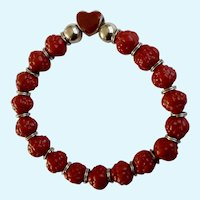 Faux Cinnabar Red Roses and Heart Silver-tone Bracelet