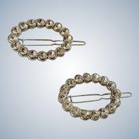 Gorgeous Faux Diamond Oval Sparkle Silver-tone Hair Barrettes