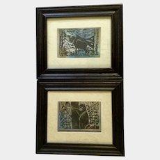 Noreen, Bear & Elk Linocut Print Art Signed By Artist