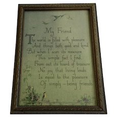 1920's circa My Friend Framed Poem Print With Bluebirds and Flowers