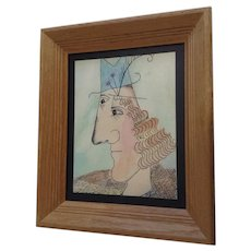 Eccentric Barbara Frochlich, The Modern Man, Cubist Pen Ink Watercolor Painting Signed by Artist