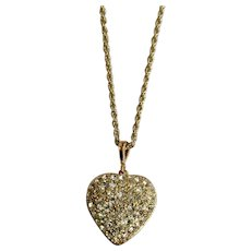 Heart Locket Faux Diamond Rhinestone Encrusted Metal Pendant Necklace