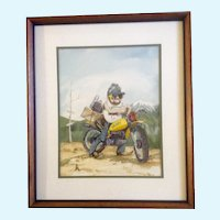 Vintage Yamaha Motorcycle, Crazy Dirt Biker Drinking Beer With Dynamite, Watercolor Painting