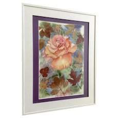 Donald, Mixed Media Rose Watercolor Painting and Real Autumn Leaves Signed by Artist