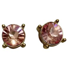 Gorgeous Large Pink Rhinestone Crystals in Gold-Tone Settings Earrings for Pierced Ears