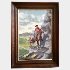 Bob Haynes, Cowboy on Horse Approaching Mountain Lion Cubs Watercolor Painting on Board Signed By Listed Artist