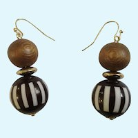 Brown Wooden and White Beaded Earrings with Fishhook Loops for Pierced Ears