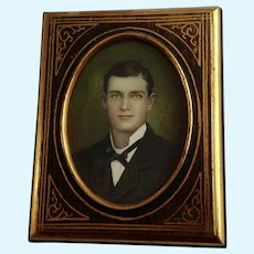 Gorgeous Victorian Handsome Man Hand Colored Photo in Original Frame
