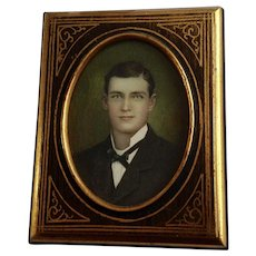 Gorgeous Victorian Man Hand Colored Photo in Original Frame
