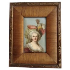Early 19th Century Victorian Lady on Porcelain Hand Painted Set in Original Frame