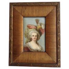 Marie Antoinette Victorian Lady Painting on Porcelain HR G M in Original Wood Frame