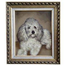 Cute Poodle Dog Portrait Original Oil Painting on Board