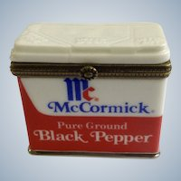 PHB Collection Retrospect Miniature Porcelain Hinged Trinket Box McCormick Black Pepper Seasoning Famous Brands Classics by Midwest of Cannon Falls Discontinued