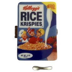 Kellogg's Rice Krispies Box of Cereal Hinged Trinket Box PHB Collection Retrospect Miniature Porcelain Famous Brands Classics by Midwest of Cannon Falls Discontinued