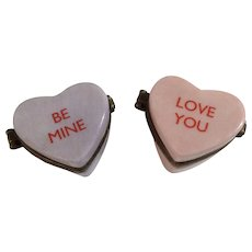 PHB Collection Retrospect Miniature Porcelain Hinged Trinket Box Conversation Candy Hearts Holiday Series by Midwest of Cannon Falls Discontinued
