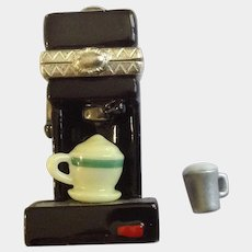 PHB Collection Retrospect Miniature Porcelain Hinged Trinket Box Cooking and Crafting Series Cappuccino Coffee Maker by Midwest of Cannon Falls Discontinued