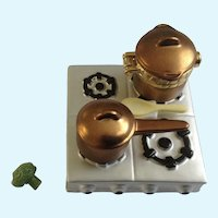 Stovetop Cooktop and Copper Pot Hinged Trinket Box Miniature