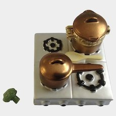 Hinged Trinket Box PHB Collection Retrospect Miniature Porcelain Cooking and Crafting Series Cooktop and Copper Pot by Midwest of Cannon Falls Discontinued