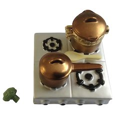 Stovetop Hinged Trinket Box PHB Collection Retrospect Miniature Porcelain Cooking and Crafting Series Cooktop and Copper Pot by Midwest of Cannon Falls Discontinued