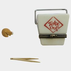 PHB Collection Retrospect Miniature Porcelain Hinged Trinket Box Men's Club Series Chinese Takeout with Chop Sticks and Fortune Cookie by Midwest of Cannon Falls Discontinued