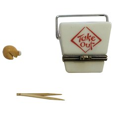 Chinese Takeout Hinged Trinket Box PHB Collection Retrospect Miniature Porcelain Men's Club Series with Chop Sticks and Fortune Cookie by Midwest of Cannon Falls Discontinued