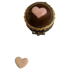 Cupcake with Candy Heart Miniature Porcelain Hinged Trinket Box