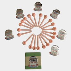 Mid-Century Side of Cake Toppers 22 Candle Holders Pink Plastic With 6 Foil Birthday Seals