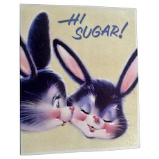 Norcross King Size Glitter Bunny Rabbit Easter Greeting Card 1960's