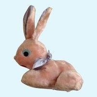 Mid-Century Easter Bunny Rabbit Pink Plush Stuffed Animal