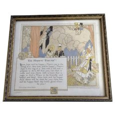1927 Poem, 'Be Happy Today' Victorian People, Gold Embossed The Buzza  Co. In Original Frame