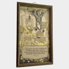 Vintage 1920's Circa Poem, 'A Friend' Two Men and a Dog in Original Frame