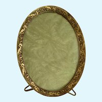19th Century Victorian Oval Metal Gold Glass Standing Picture Frame
