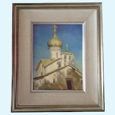Russian Orthodox Church Oil Painting Signed by Russian Artist