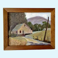 Knobby, Rural Home Landscape Oil Painting Signed by Artist