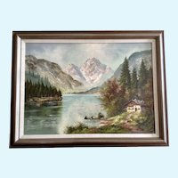 Lachmayer, Alps Mountain Landscape Oil Painting Signed by Artist