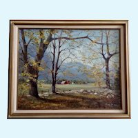 Autumn Barn Farm in Mountain Valley Oil Painting signed by Artist