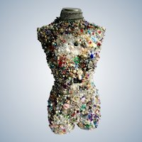 Gorgeous Large Sculpture Vintage Jewels Display Jewelry Encrusted Mannequin Art