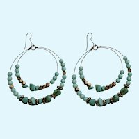 Faux Turquoise and Gold-Tone Beaded Loops Fishhook Earrings for Pierced Ears