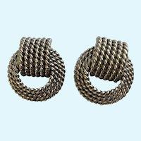 Silver-Tone Wire Rope Knot Stud Post Earrings for Pierced Ears